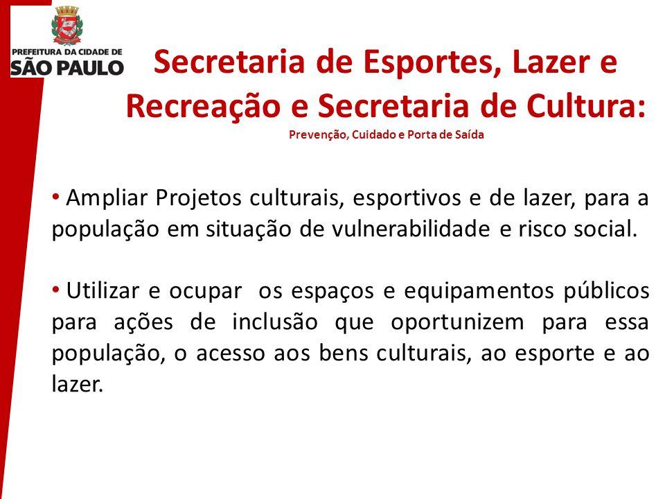 Secretaria de Esportes, Lazer e Recreação e Secretaria de Cultura: Prevenção, Cuidado e Porta de Saída Ampliar Projetos culturais, esportivos e de laz