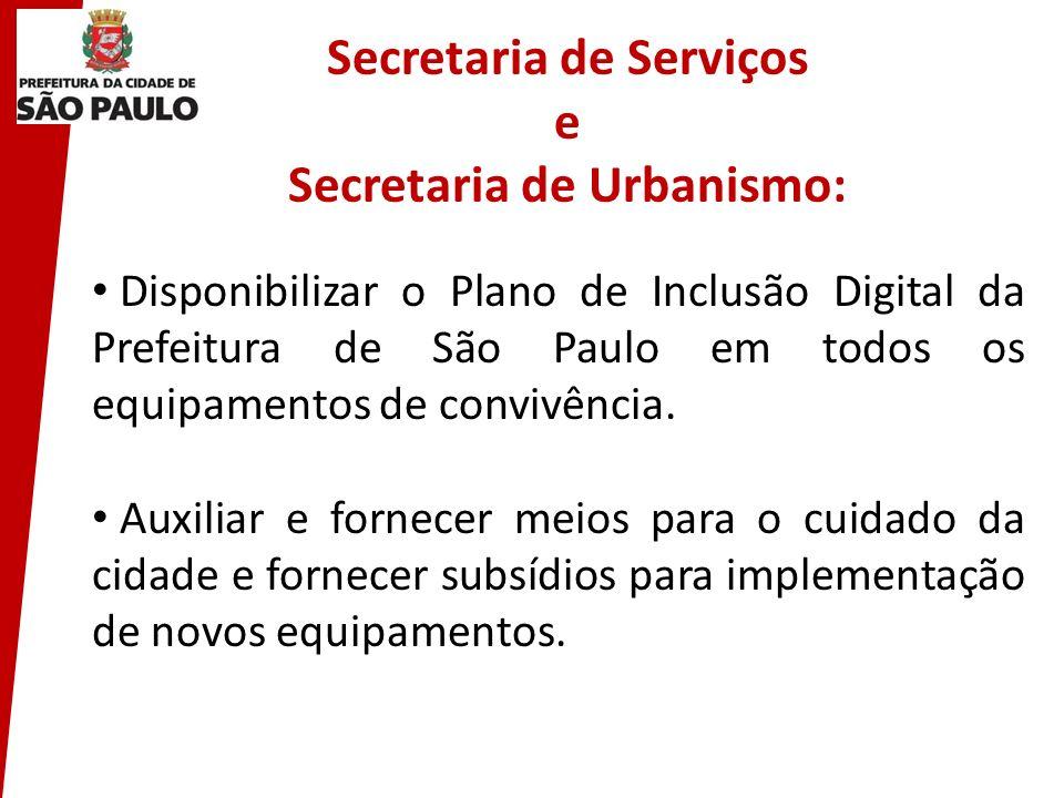 Secretaria de Serviços e Secretaria de Urbanismo: Disponibilizar o Plano de Inclusão Digital da Prefeitura de São Paulo em todos os equipamentos de co