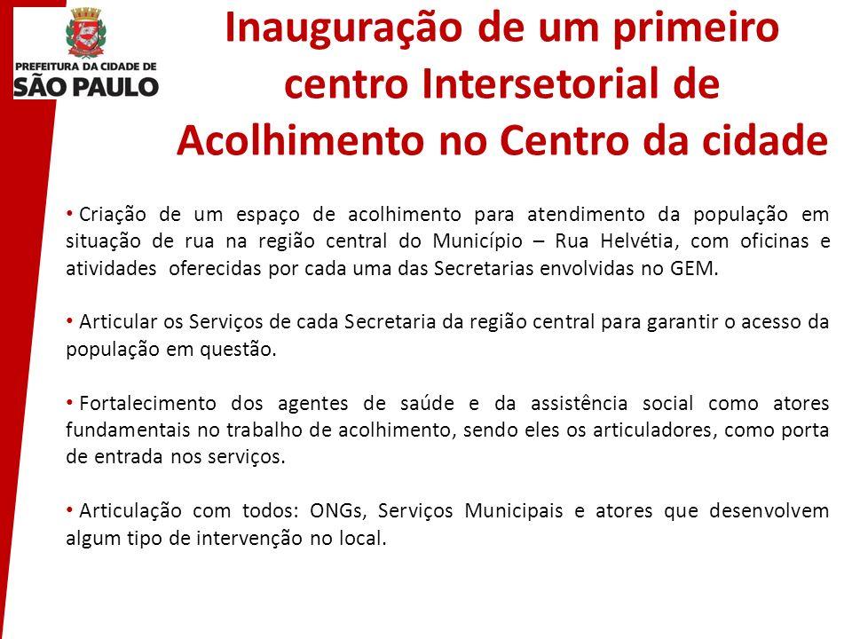 Inauguração de um primeiro centro Intersetorial de Acolhimento no Centro da cidade Criação de um espaço de acolhimento para atendimento da população e