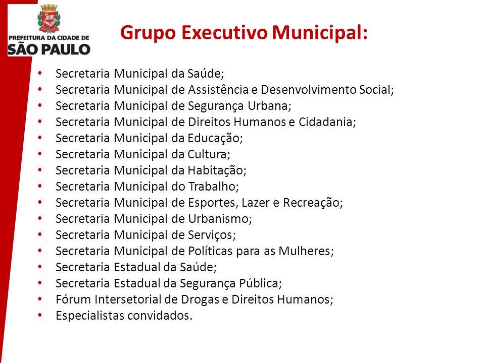 Grupo Executivo Municipal: Secretaria Municipal da Saúde; Secretaria Municipal de Assistência e Desenvolvimento Social; Secretaria Municipal de Segura