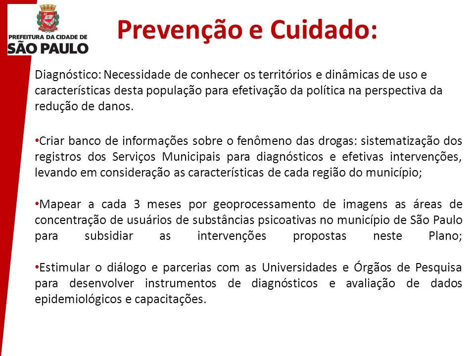 Prevenção e Cuidado: Diagnóstico: Necessidade de conhecer os territórios e dinâmicas de uso e características desta população para efetivação da polít