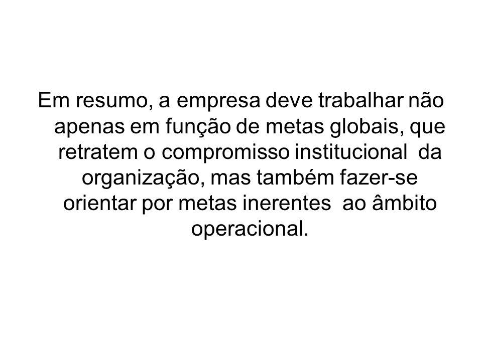 Em resumo, a empresa deve trabalhar não apenas em função de metas globais, que retratem o compromisso institucional da organização, mas também fazer-s