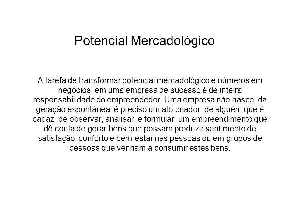 Potencial Mercadológico A tarefa de transformar potencial mercadológico e números em negócios em uma empresa de sucesso é de inteira responsabilidade