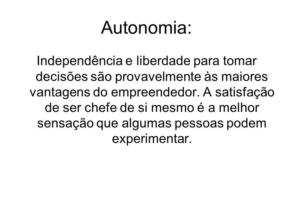 Autonomia: Independência e liberdade para tomar decisões são provavelmente às maiores vantagens do empreendedor. A satisfação de ser chefe de si mesmo