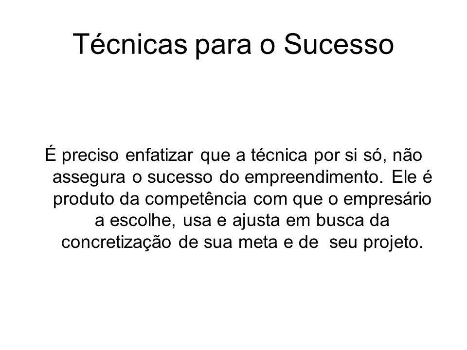 Técnicas para o Sucesso É preciso enfatizar que a técnica por si só, não assegura o sucesso do empreendimento. Ele é produto da competência com que o