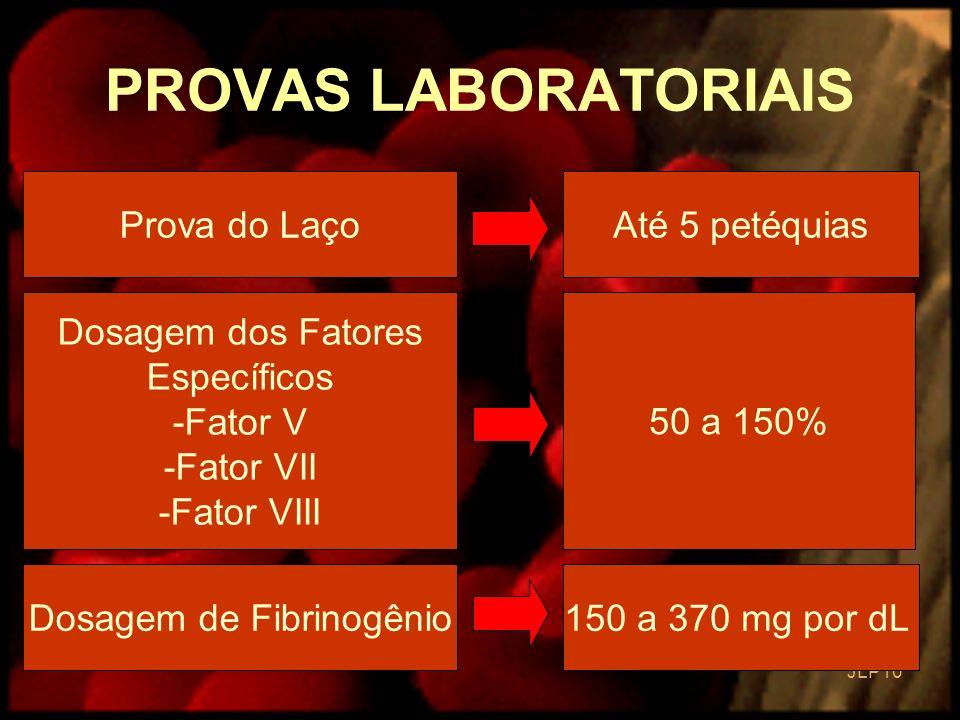 JLP 10 PROVAS LABORATORIAIS Prova do LaçoAté 5 petéquias Dosagem dos Fatores Específicos -Fator V -Fator VII -Fator VIII 50 a 150% Dosagem de Fibrinog
