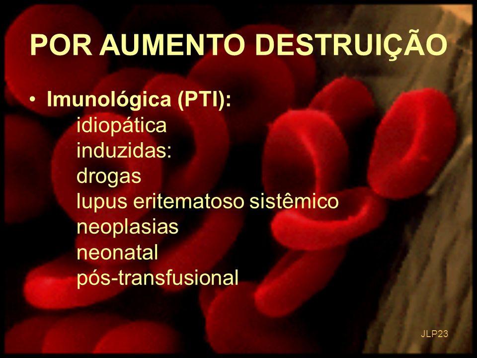 JLP 23 Imunológica (PTI): idiopática induzidas: drogas lupus eritematoso sistêmico neoplasias neonatal pós-transfusional POR AUMENTO DESTRUIÇÃO