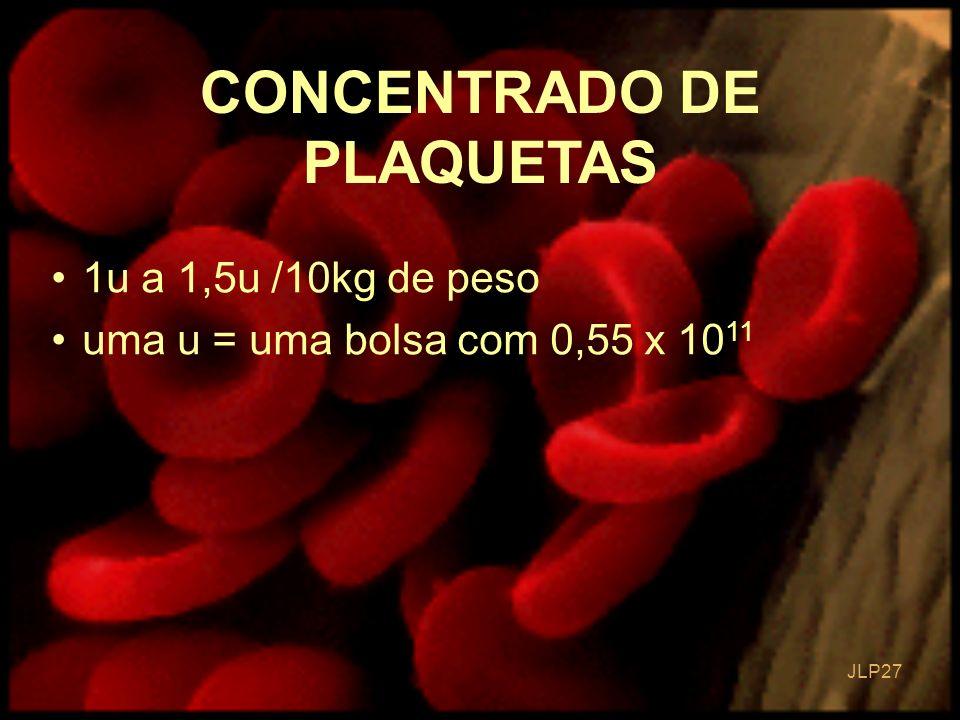JLP 27 CONCENTRADO DE PLAQUETAS 1u a 1,5u /10kg de peso uma u = uma bolsa com 0,55 x 10 11