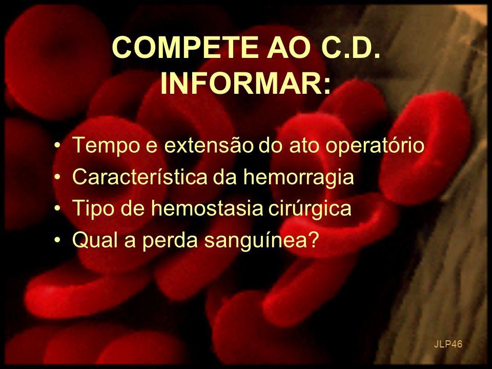 JLP 46 Tempo e extensão do ato operatório Característica da hemorragia Tipo de hemostasia cirúrgica Qual a perda sanguínea? COMPETE AO C.D. INFORMAR: