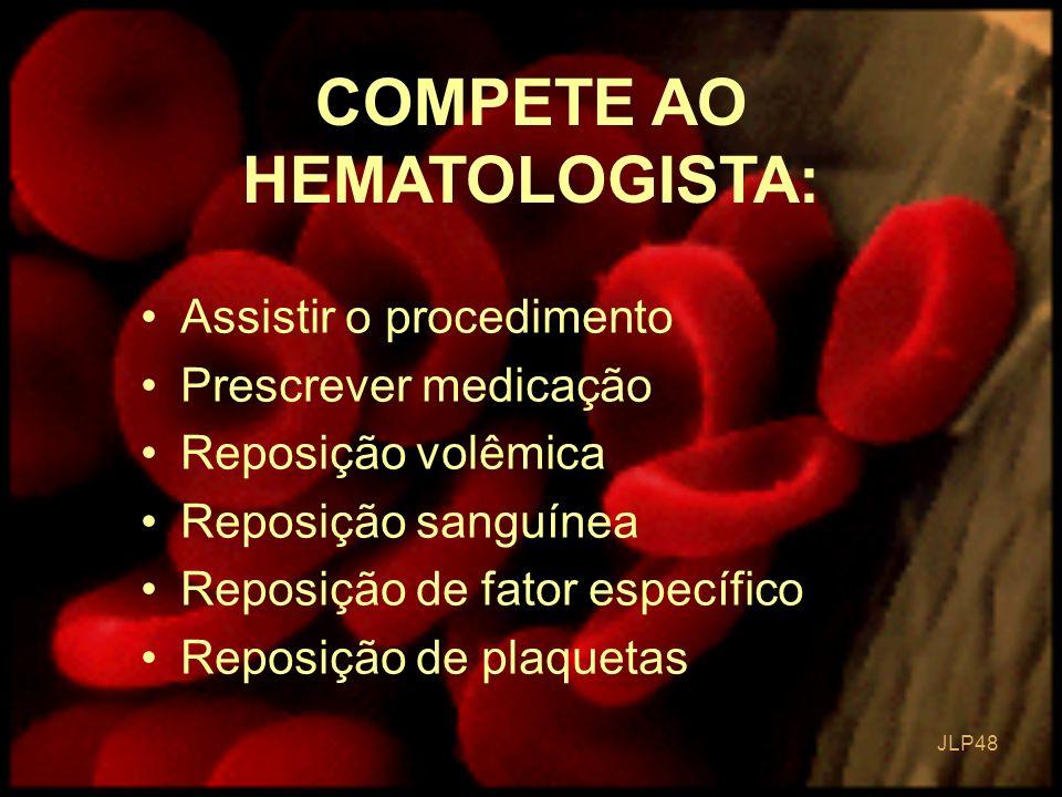 JLP 48 Assistir o procedimento Prescrever medicação Reposição volêmica Reposição sanguínea Reposição de fator específico Reposição de plaquetas COMPET