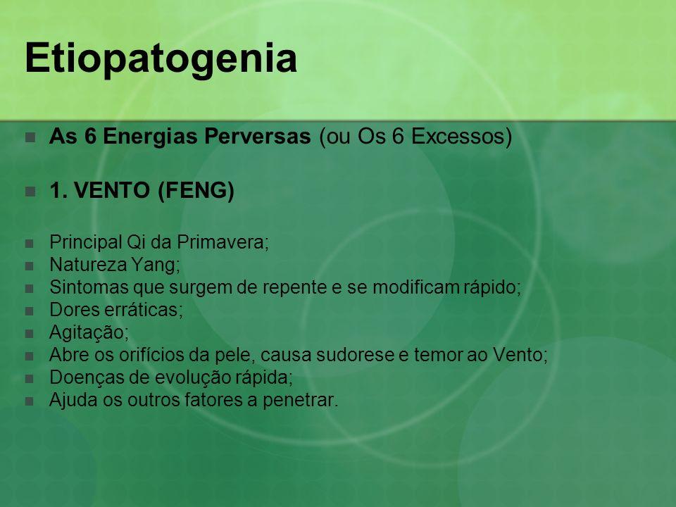 Etiopatogenia As 6 Energias Perversas (ou Os 6 Excessos) 1. VENTO (FENG) Principal Qi da Primavera; Natureza Yang; Sintomas que surgem de repente e se