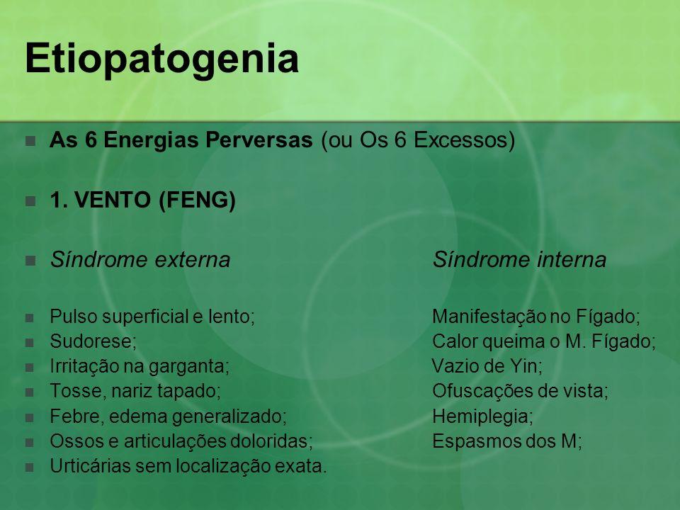 Etiopatogenia As 6 Energias Perversas (ou Os 6 Excessos) 1. VENTO (FENG) Síndrome externa Síndrome interna Pulso superficial e lento; Manifestação no