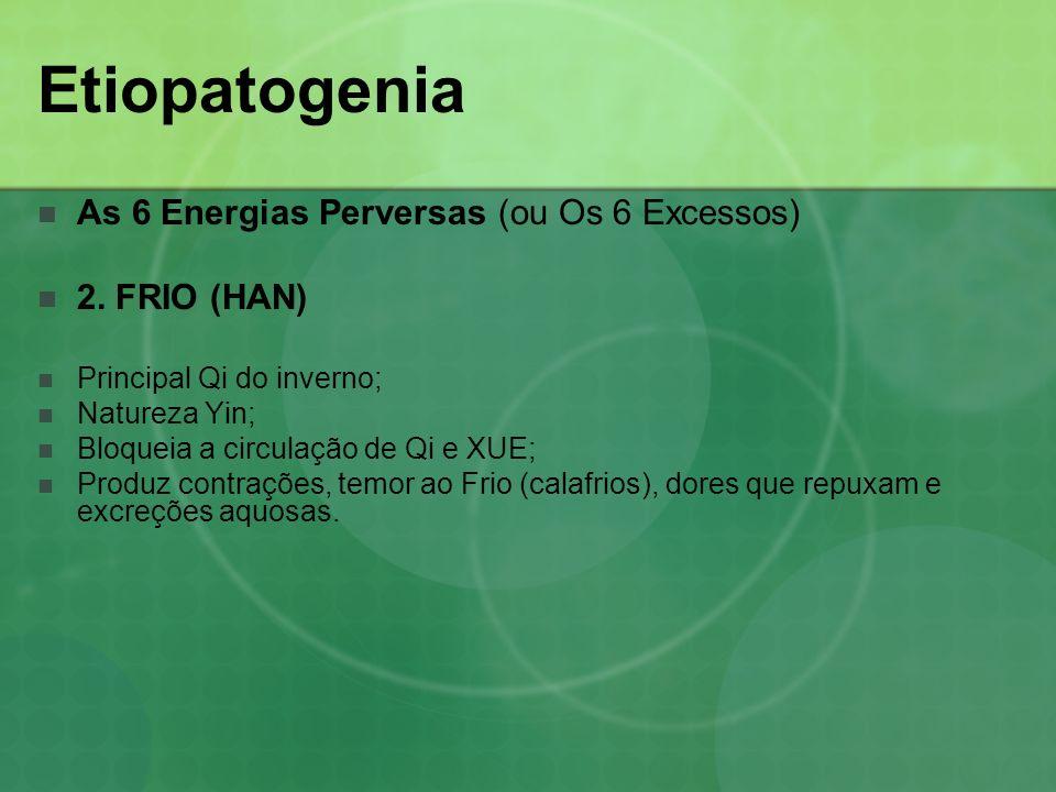 Etiopatogenia As 6 Energias Perversas (ou Os 6 Excessos) 2. FRIO (HAN) Principal Qi do inverno; Natureza Yin; Bloqueia a circulação de Qi e XUE; Produ