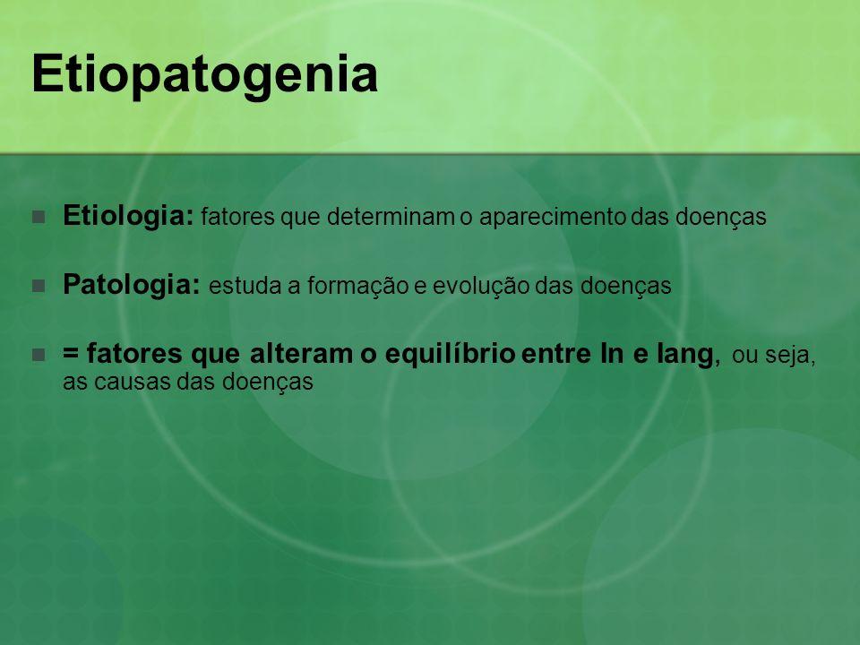 Etiopatogenia Etiologia: fatores que determinam o aparecimento das doenças Patologia: estuda a formação e evolução das doenças = fatores que alteram o