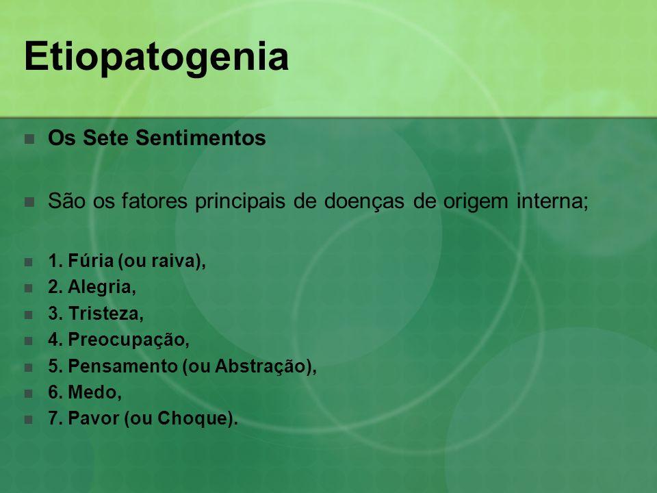 Etiopatogenia Os Sete Sentimentos São os fatores principais de doenças de origem interna; 1. Fúria (ou raiva), 2. Alegria, 3. Tristeza, 4. Preocupação