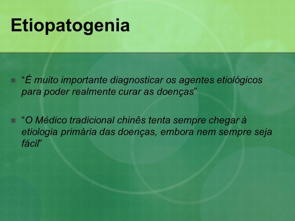 Etiopatogenia É muito importante diagnosticar os agentes etiológicos para poder realmente curar as doenças O Médico tradicional chinês tenta sempre ch