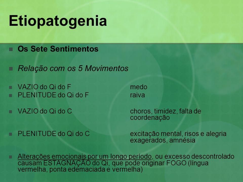 Etiopatogenia Os Sete Sentimentos Relação com os 5 Movimentos VAZIO do Qi do Fmedo PLENITUDE do Qi do Fraiva VAZIO do Qi do Cchoros, timidez, falta de