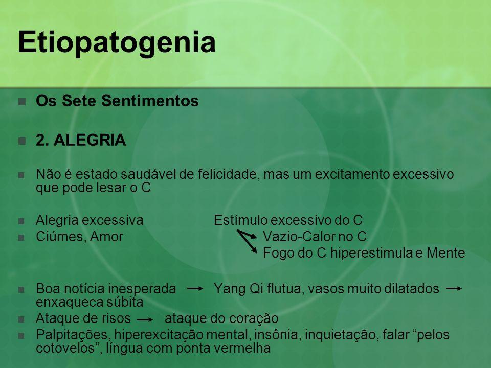 Etiopatogenia Os Sete Sentimentos 2. ALEGRIA Não é estado saudável de felicidade, mas um excitamento excessivo que pode lesar o C Alegria excessiva Es