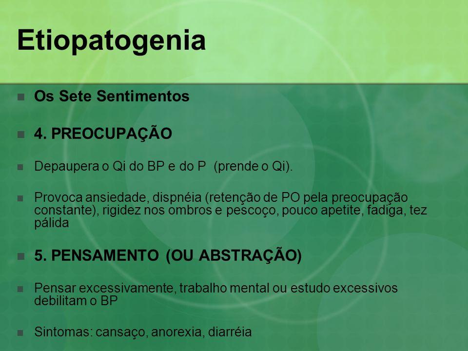 Os Sete Sentimentos 4. PREOCUPAÇÃO Depaupera o Qi do BP e do P (prende o Qi). Provoca ansiedade, dispnéia (retenção de PO pela preocupação constante),