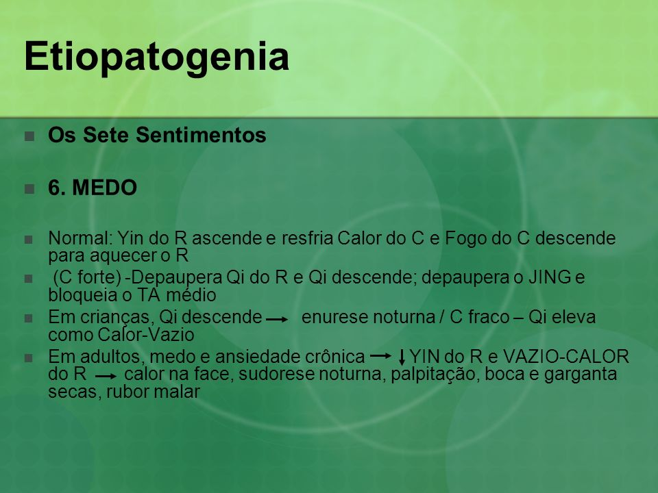 Etiopatogenia Os Sete Sentimentos 6. MEDO Normal: Yin do R ascende e resfria Calor do C e Fogo do C descende para aquecer o R (C forte) -Depaupera Qi