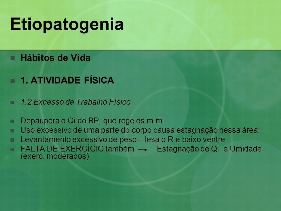 Etiopatogenia Hábitos de Vida 1. ATIVIDADE FÍSICA 1.2 Excesso de Trabalho Físico Depaupera o Qi do BP, que rege os m.m. Uso excessivo de uma parte do