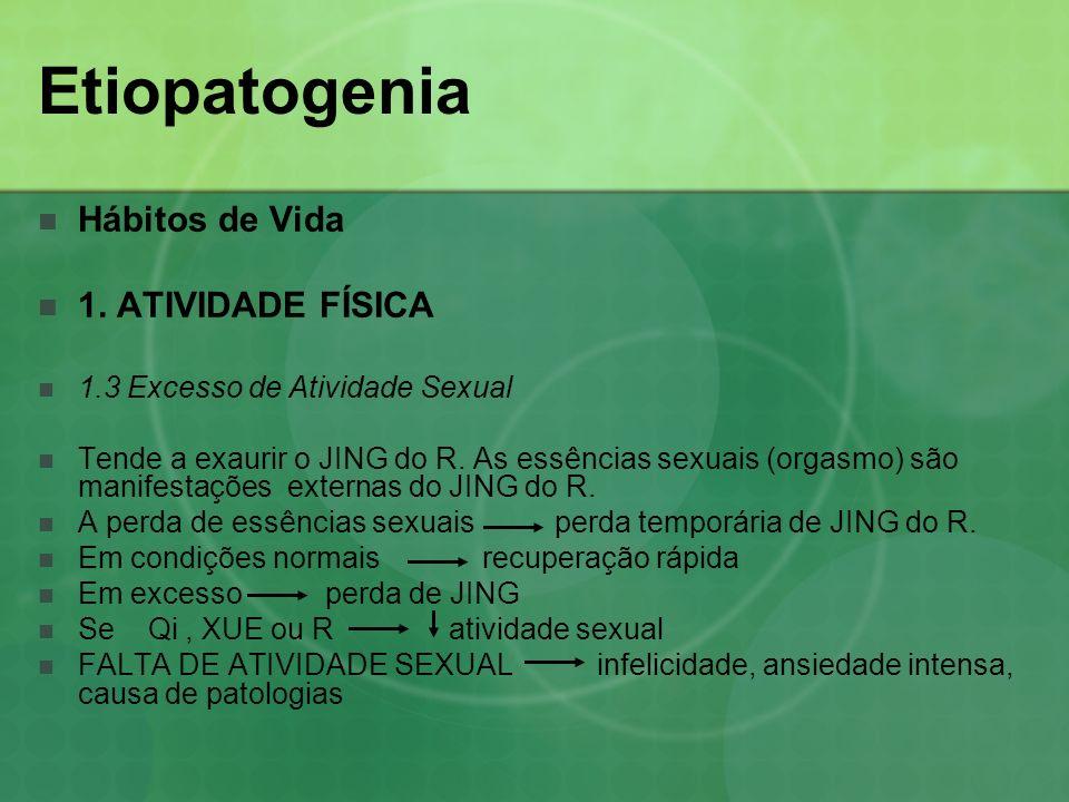 Etiopatogenia Hábitos de Vida 1. ATIVIDADE FÍSICA 1.3 Excesso de Atividade Sexual Tende a exaurir o JING do R. As essências sexuais (orgasmo) são mani