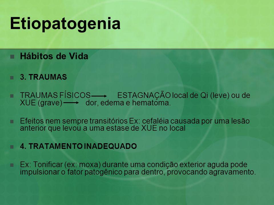 Etiopatogenia Hábitos de Vida 3. TRAUMAS TRAUMAS FÍSICOS ESTAGNAÇÃO local de Qi (leve) ou de XUE (grave) dor, edema e hematoma. Efeitos nem sempre tra