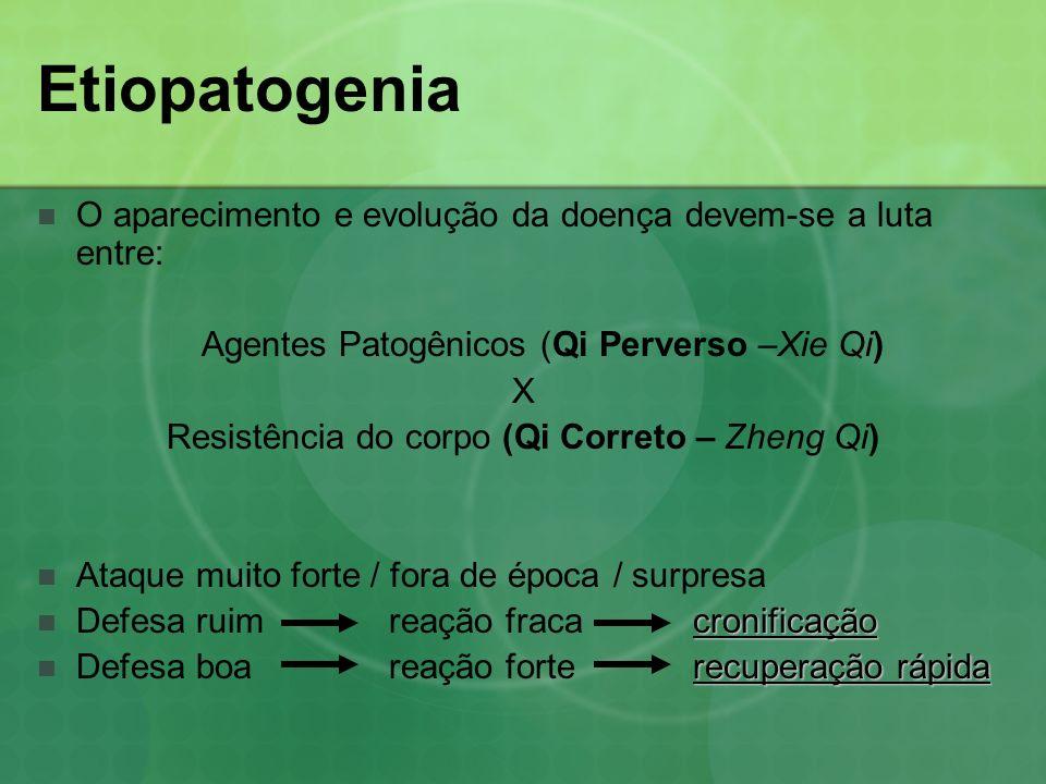 Etiopatogenia O aparecimento e evolução da doença devem-se a luta entre: Agentes Patogênicos (Qi Perverso –Xie Qi) X Resistência do corpo (Qi Correto