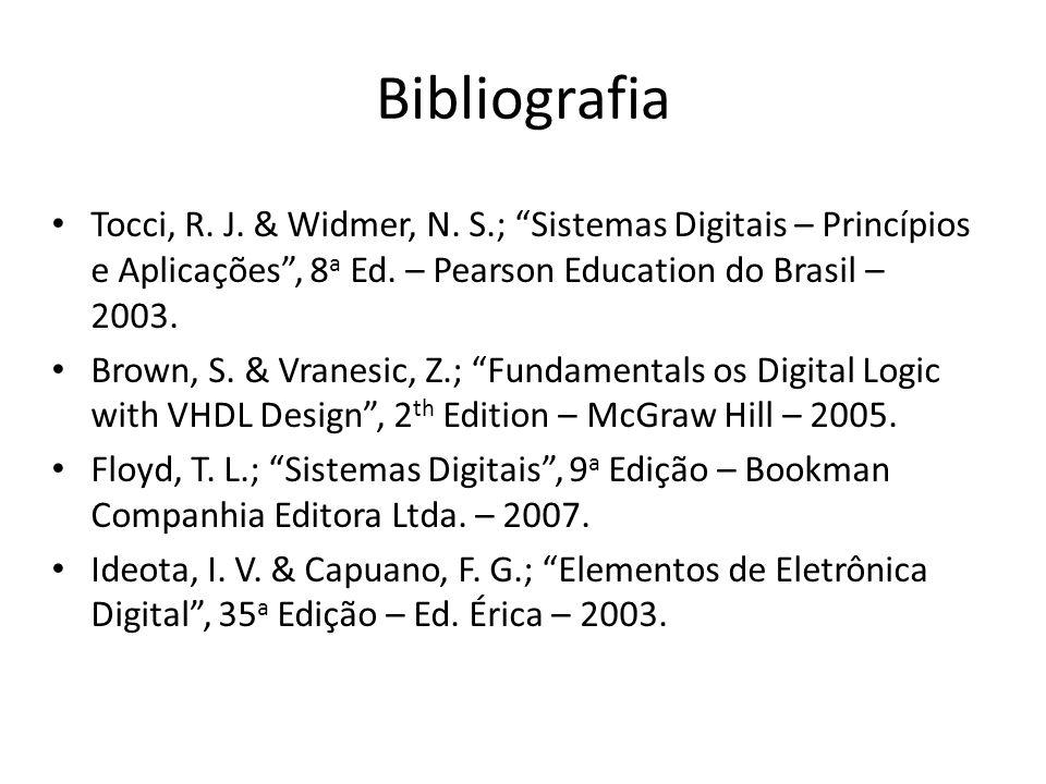 Bibliografia Tocci, R. J. & Widmer, N. S.; Sistemas Digitais – Princípios e Aplicações, 8 a Ed. – Pearson Education do Brasil – 2003. Brown, S. & Vran