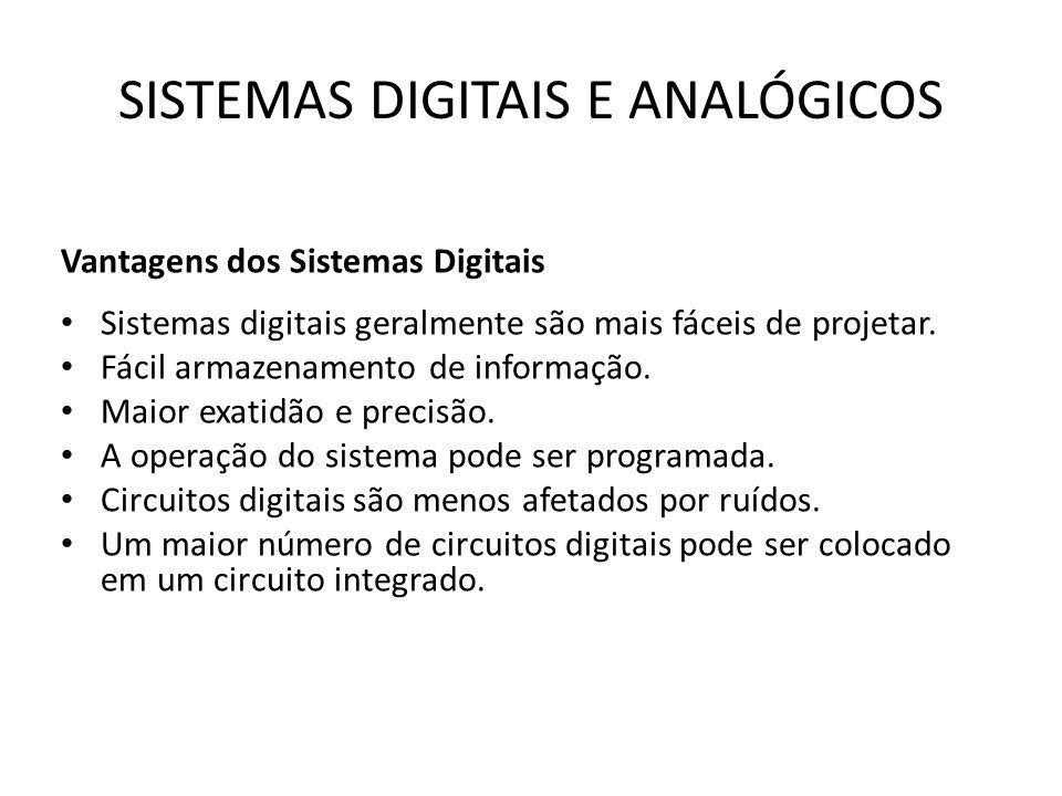 SISTEMAS DIGITAIS E ANALÓGICOS Vantagens dos Sistemas Digitais Sistemas digitais geralmente são mais fáceis de projetar. Fácil armazenamento de inform