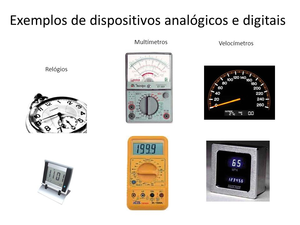 Exemplos de dispositivos analógicos e digitais Relógios Multímetros Velocímetros