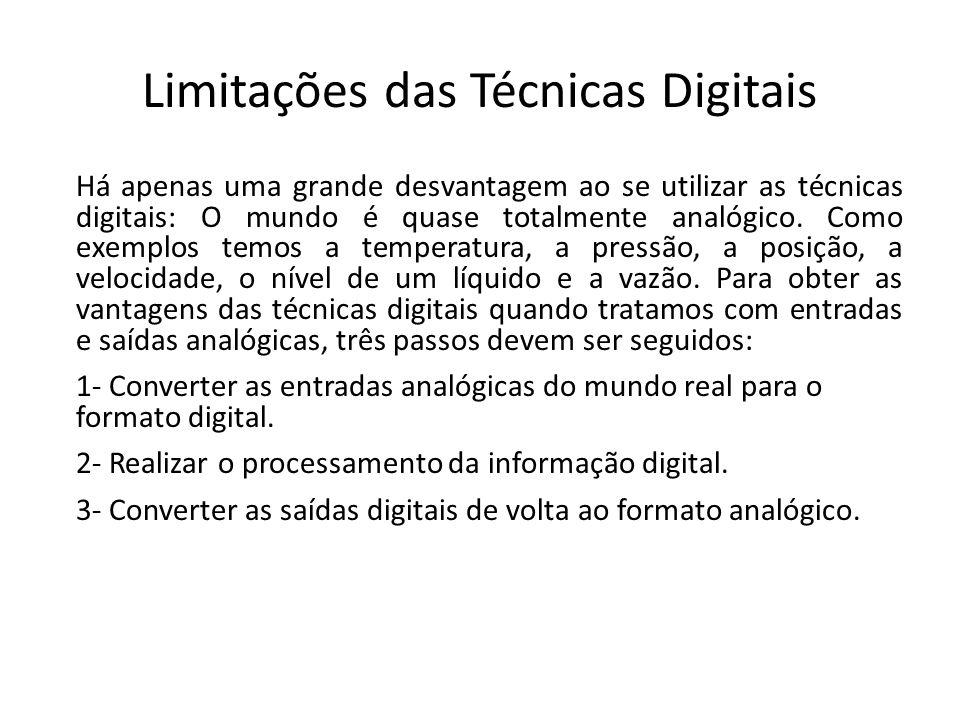 Limitações das Técnicas Digitais Há apenas uma grande desvantagem ao se utilizar as técnicas digitais: O mundo é quase totalmente analógico. Como exem