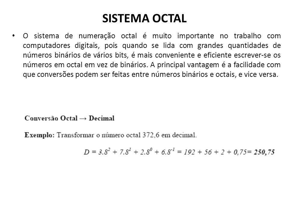 SISTEMA OCTAL O sistema de numeração octal é muito importante no trabalho com computadores digitais, pois quando se lida com grandes quantidades de nú