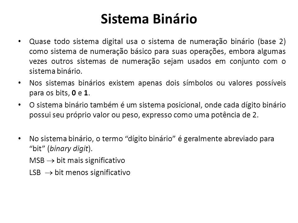 Sistema Binário Quase todo sistema digital usa o sistema de numeração binário (base 2) como sistema de numeração básico para suas operações, embora al