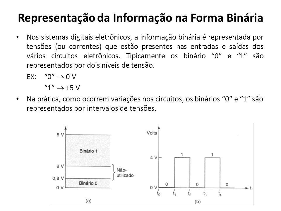 Representação da Informação na Forma Binária Nos sistemas digitais eletrônicos, a informação binária é representada por tensões (ou correntes) que est