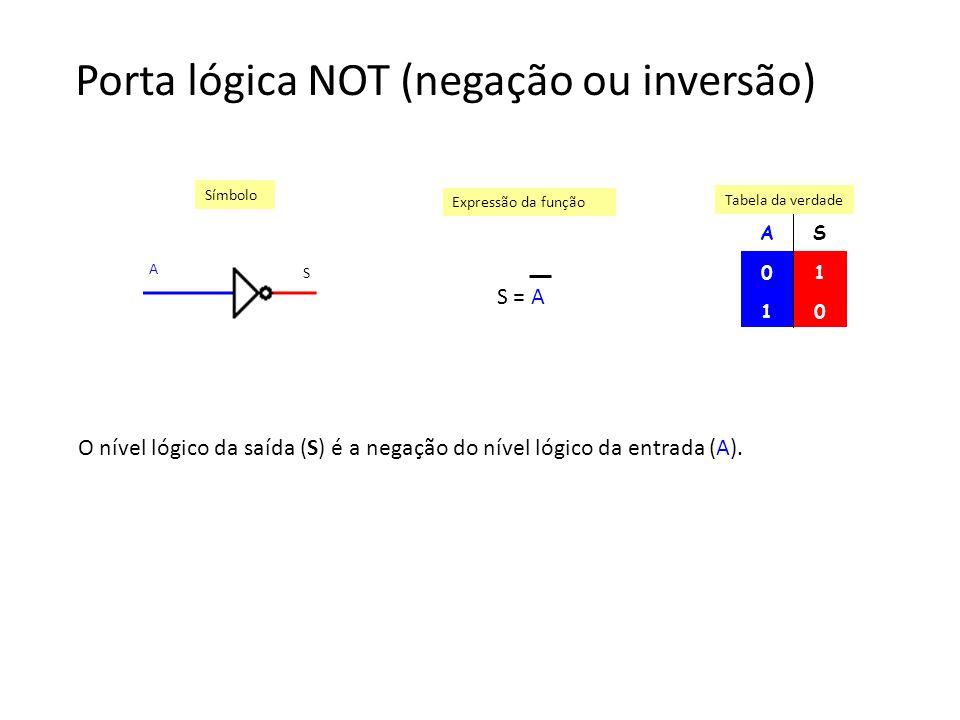 Porta lógica NOT (negação ou inversão) AS 01 10 Símbolo Expressão da função Tabela da verdade S = A A S O nível lógico da saída (S) é a negação do nív