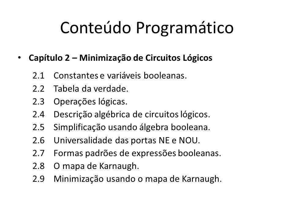 Conteúdo Programático Capítulo 2 – Minimização de Circuitos Lógicos 2.1 Constantes e variáveis booleanas. 2.2 Tabela da verdade. 2.3 Operações lógicas