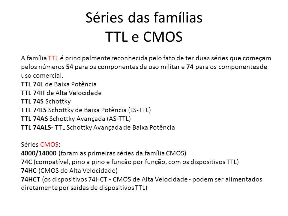 Séries das famílias TTL e CMOS A família TTL é principalmente reconhecida pelo fato de ter duas séries que começam pelos números 54 para os componente