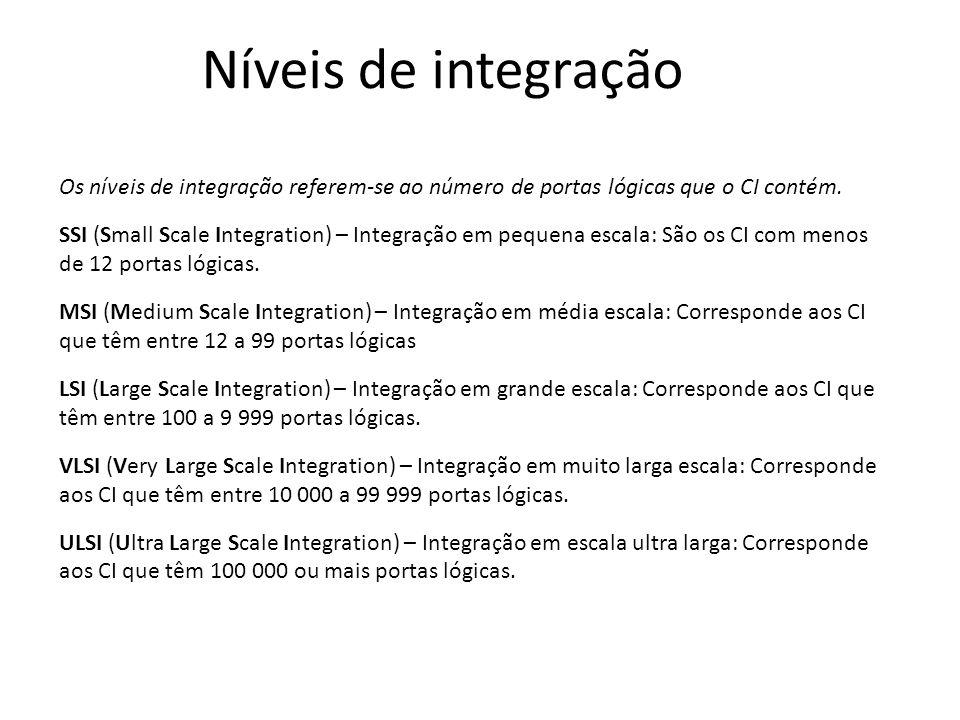 Níveis de integração Os níveis de integração referem-se ao número de portas lógicas que o CI contém. SSI (Small Scale Integration) – Integração em peq