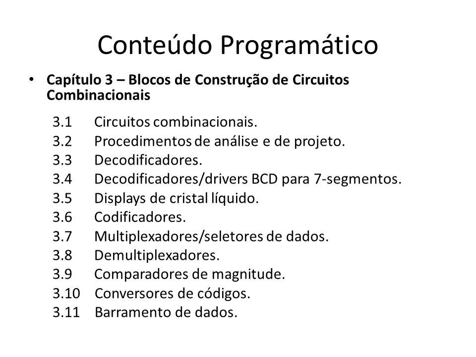 Conteúdo Programático Capítulo 3 – Blocos de Construção de Circuitos Combinacionais 3.1 Circuitos combinacionais. 3.2 Procedimentos de análise e de pr