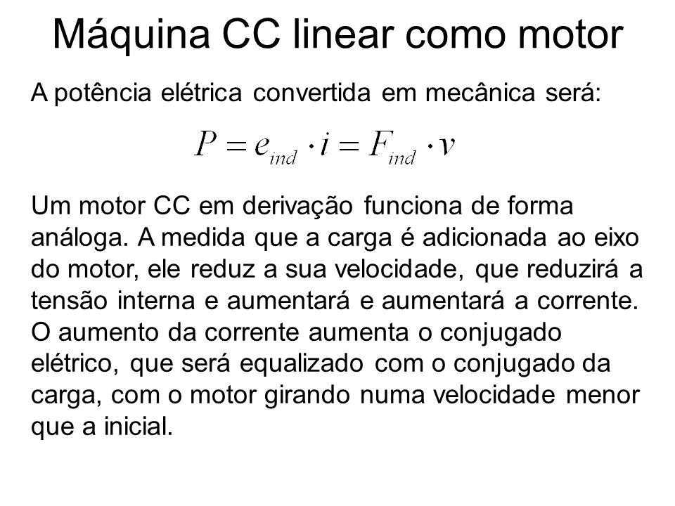 Máquina CC linear como motor A potência elétrica convertida em mecânica será: Um motor CC em derivação funciona de forma análoga. A medida que a carga