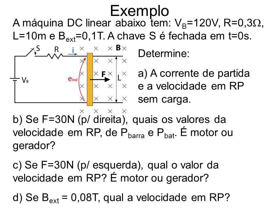 Exemplo A máquina DC linear abaixo tem: V B =120V, R=0,3, L=10m e B ext =0,1T. A chave S é fechada em t=0s. Determine: a) A corrente de partida e a ve