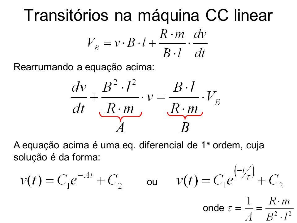 Transitórios na máquina CC linear Rearrumando a equação acima: A B A equação acima é uma eq. diferencial de 1 a ordem, cuja solução é da forma: ou ond