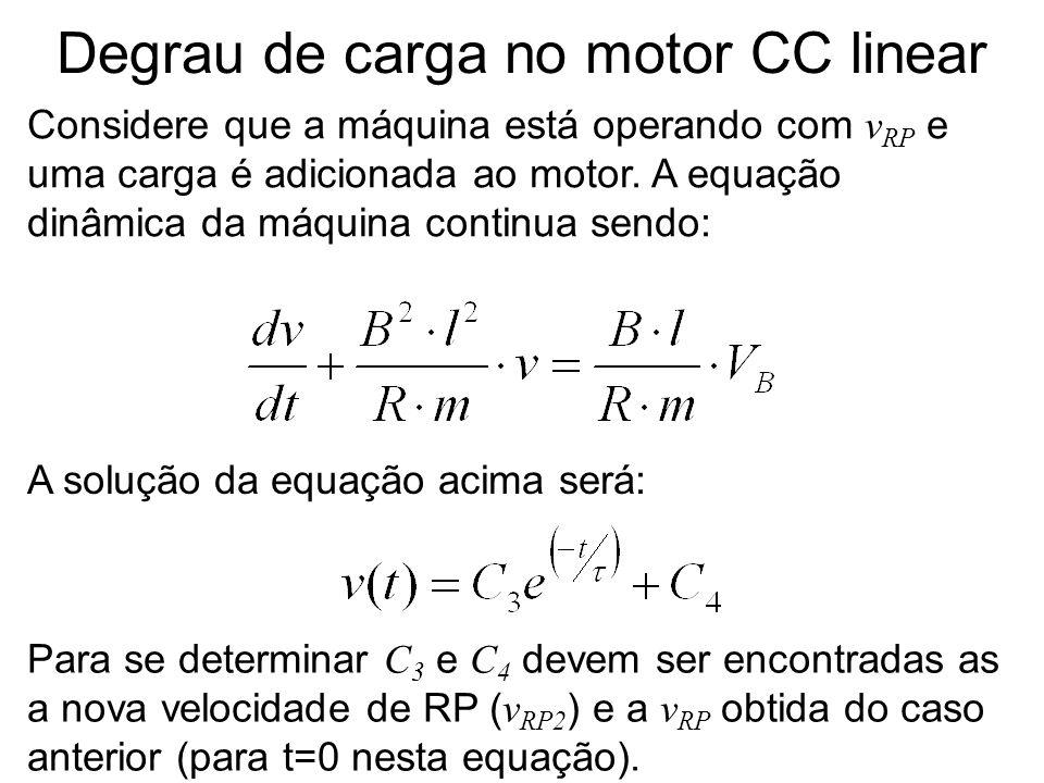 Degrau de carga no motor CC linear Considere que a máquina está operando com v RP e uma carga é adicionada ao motor. A equação dinâmica da máquina con