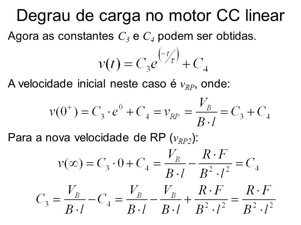 Degrau de carga no motor CC linear Agora as constantes C 3 e C 4 podem ser obtidas. A velocidade inicial neste caso é v RP, onde: Para a nova velocida