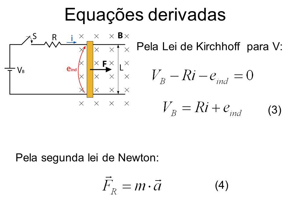 Degrau de carga no motor CC linear Agora as constantes C 3 e C 4 podem ser obtidas.