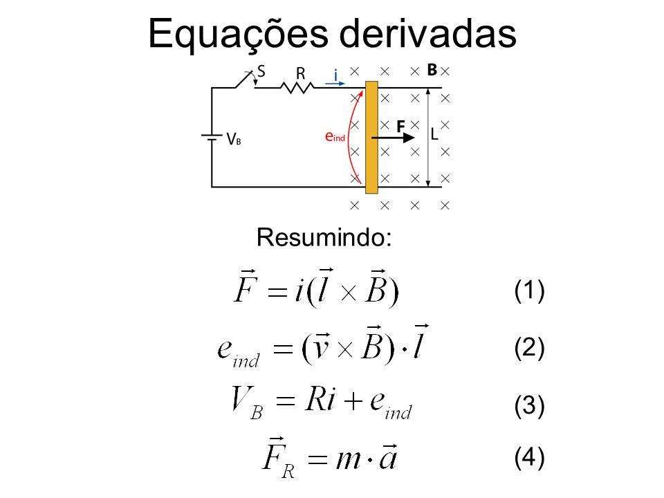 Exemplo A máquina DC linear abaixo tem: V B =120V, R=0,3, L=10m e B ext =0,1T.