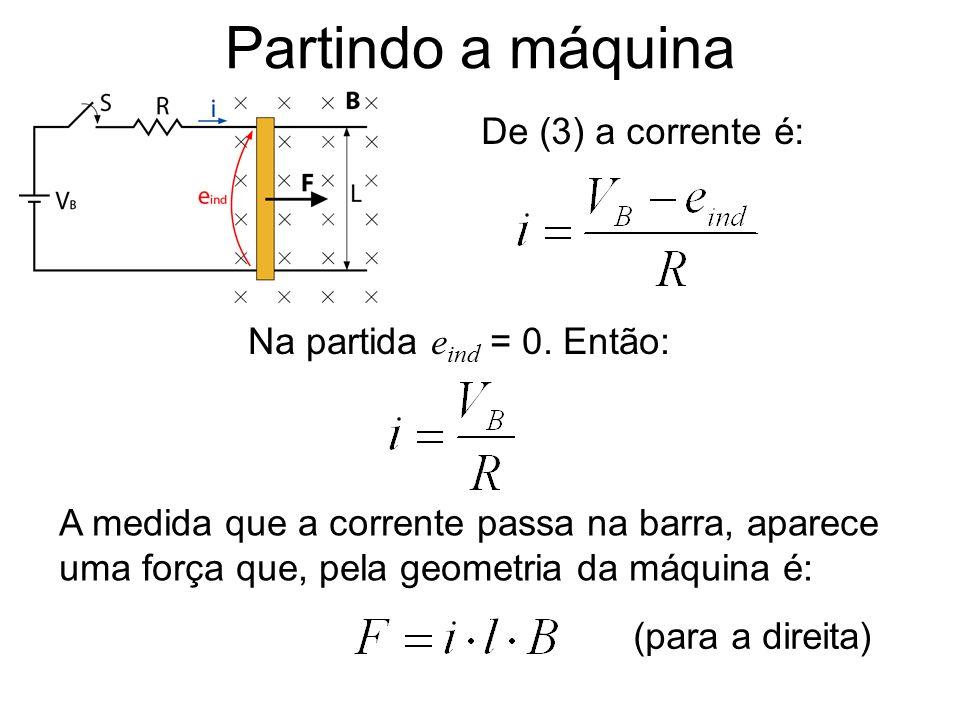 Partindo a máquina De (3) a corrente é: Na partida e ind = 0. Então: A medida que a corrente passa na barra, aparece uma força que, pela geometria da