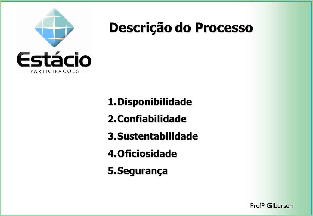 Profº Gilberson Descrição do Processo 1.Disponibilidade 2.Confiabilidade 3.Sustentabilidade 4.Oficiosidade 5.Segurança