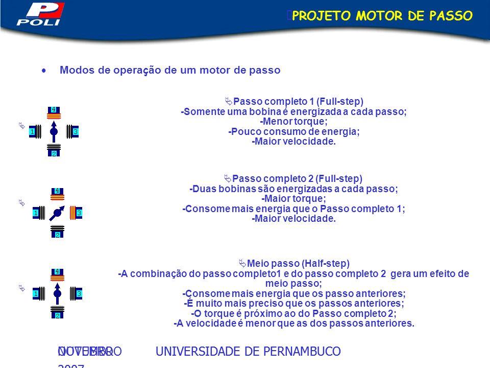 UNIVERSIDADE DE PERNAMBUCOOUTUBRO 2007 UNIVERSIDADE DE PERNAMBUCONOVEMBRO 2007 PROJETO MOTOR DE PASSO Modos de opera ç ão de um motor de passo Passo c